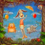 春天框架美好的森林地场面与逗人喜爱的动物的在多云天空 免版税图库摄影