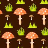 春天森林蘑菇无缝的样式 库存图片