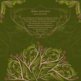 春天植物的卡片为党或婚礼之日与分支 也corel凹道例证向量 森林elven装饰品卡片 免版税图库摄影