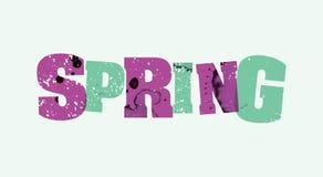 春天概念被盖印的词艺术例证 免版税库存图片