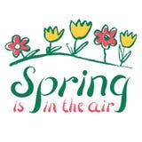 春天激动人心的行情 乱画花和绿草 Spri 图库摄影
