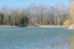春天的冻湖在纪念公园Constantin Stere在Bucov,在普洛耶什蒂附近,罗马尼亚 库存照片