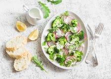 春天硬花甘蓝和萝卜沙拉用酸奶在轻的背景,顶视图调味 可口健康素食食物 库存照片