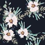 春天秋天桃红色牡丹开花与草本和百合无缝的样式 邀请的水彩样式花卉背景, 皇族释放例证
