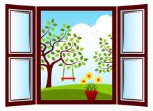 春天窗口 库存照片
