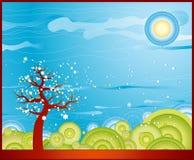 春天结构树向量 库存照片