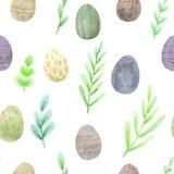 春天绿色和鸡蛋的无缝的水彩复活节样式在自然颜色 皇族释放例证