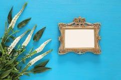春天美丽的白花和空白的维多利亚女王时代的照片框架 免版税库存照片