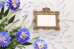 春天美丽的蓝色和白花和空白的维多利亚女王时代的照片框架 库存照片