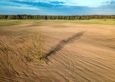 春天耕地 领域和一棵偏僻的树 在视图之上 天线,寄生虫 免版税库存图片