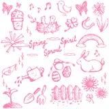 春天节日乱画动物、植物和花,休闲a 库存图片