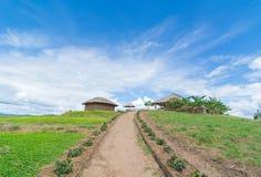 春天花、村庄和完善的天空的领域 免版税库存照片