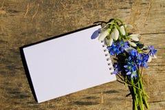 春天花和笔记薄花束在木背景 库存图片