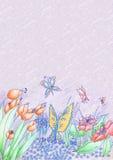 春天花和蝴蝶手拉的背景 免版税库存图片