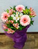 春天花束开花-白色和桃红色德国锥脚形酒杯和大丁草 库存照片