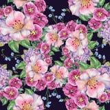 春天花束淡紫色花,水彩,仿造无缝 库存图片