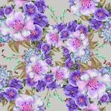 春天花束淡紫色花,水彩,仿造无缝 免版税图库摄影