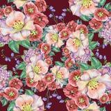 春天花束淡紫色花,水彩,仿造无缝 免版税库存图片