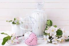 春天苹果开花、蜡烛在装饰鸟笼和littl 免版税库存图片
