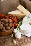 春天葱和各种各样的乳酪两个头  库存照片