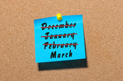 春天起点的一个概念性图象 题字3月月和注销的冬天monthes 12月, 1月 免版税库存照片