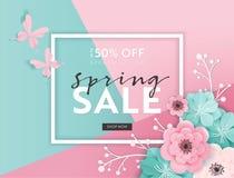 春天销售与纸刻花的横幅背景 春天折扣证件模板,小册子,海报,广告 皇族释放例证
