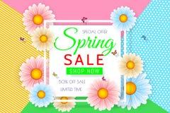 春天销售与美丽的五颜六色的花的背景设计 导航优惠券、横幅、证件或者promoti的花卉设计模板 库存例证
