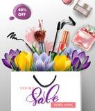 春天销售概念 与开花的番红花的春天背景 向量 免版税库存图片