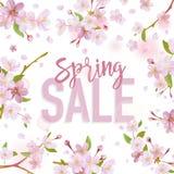 春天销售横幅 销售额背景 大销售额 花卉销售标记 库存照片