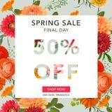 春天销售横幅 销售额背景 大销售额 花卉销售标记 图库摄影