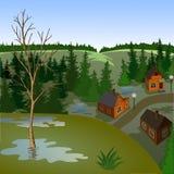 春天镇风景看法从小山的 免版税图库摄影