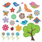 五颜六色的春天集合 免版税库存照片