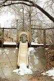 春天雪风暴在肖托夸公园 库存照片
