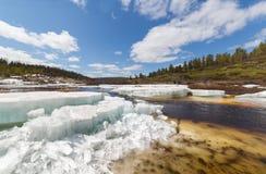 春天风景在冰漂泊期间的南雅库特在一条小小河 免版税图库摄影