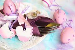 春天,复活节餐位餐具 库存照片