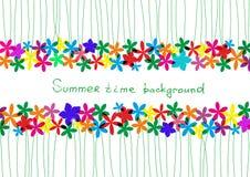 春天,夏天背景 设计的彩虹花卉边界 免版税库存照片