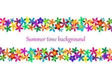 春天,夏天背景 设计的彩虹花卉边界 免版税图库摄影