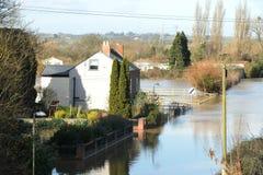 春天洪水在格洛斯特郡 免版税图库摄影