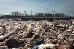 春天洪水在残暴的人河 库存照片