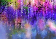 春天紫色开花紫藤 多孔黏土更正高绘画photoshop非常质量扫描水彩 免版税库存照片