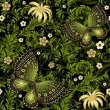 春天绿色金子无缝的样式 库存图片