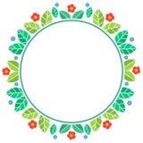 春天主题的花卉圆框架 库存照片