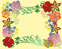 春天muticolored花卉框架 免版税库存图片