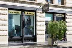 139春天St的,伦敦苏豪区,纽约香奈儿商店 免版税库存照片