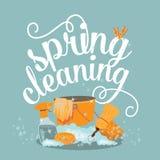 春季大扫除的快乐的平的设计 免版税库存照片