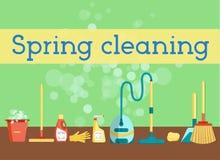 春季大扫除网站、海报、横幅、飞行物或者印刷品的最小和五颜六色的平的向量图形 套清洁工具和 免版税图库摄影