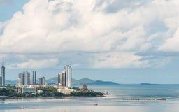 春武里市美好的城市视图    免版税库存图片