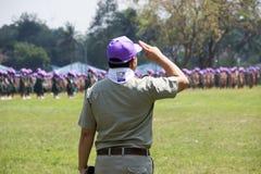 春武里市,泰国- 4月4,2015在Vajiravudh在第20个泰国全国侦察员狂欢活动的侦察员阵营 免版税库存图片