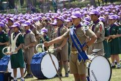 春武里市,泰国- 4月4,2015在Vajiravudh在第20个泰国全国侦察员狂欢活动的侦察员阵营 库存图片