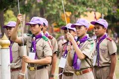 春武里市,泰国- 4月4,2015在Vajiravudh在第20个泰国全国侦察员狂欢活动的侦察员阵营 库存照片